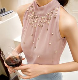 Wholesale Girl S Chiffon Sleeveless Shirt - Raodaren 2017 Women Beading Chiffon Blouse Summer Tops Korean Fashion Sleeveless Girl Casual Shirt Ladies Sexy Tees Plus Size