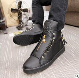 2019 marcas de calçado para homens 2017 Moda Masculina de Alta Top Sapatos de Caveira Primavera Calçados De Couro Casual Condução Com Sapatos Men Brand Luxo Preto marcas de calçado para homens barato
