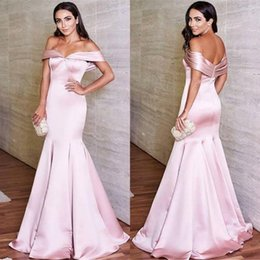 Wholesale Evening Glamorous - Glamorous Pink Prom Evening Dresses 2018 Off the Shoulder Sweetheart Sleeveless Floor Length Mermaid Celebrity Gowns