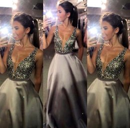 Wholesale Crystal Sparkling Short Dresses - 2017 New Sparkling Sexy Plunging V Neck Crystal Beaded Evening Dresses Sleeveless Backless Prom Dresses Custom Made Pageant Dresses BA3165