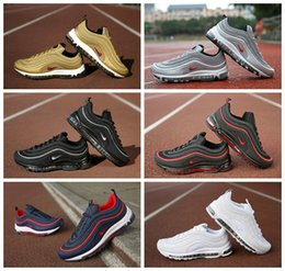 Wholesale Bullets Light - 2017 Max 97 OG Metallic Gold Silver Bullet Men Sneakers Women Maxes 97 Anniversary Running Shoes Fashion Retro Brand Sports Sneakers 36-45