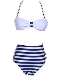 Wholesale Gerbera Daisies Silk Flowers - Factory direct wholesale trade Sexy Swimwear bikinis waisted Navy wind blue and white stripes female