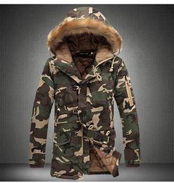 Wholesale Thicken Coat Warm Fur Lining - parkas men military medium-long free shipping winter coat men thickening cotton-padded winter jacket men with fur hood