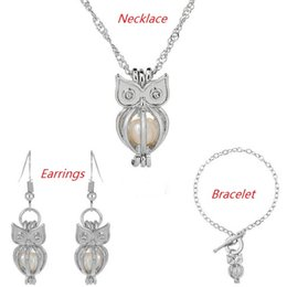 Wholesale White Freshwater Pearl Silver Earring - Love Wish Pearl Cages Locket Jewelry Sets Hollow Owl Freshwater Pearls Oyster Pendant Bracelet Earrings Necklace (Excluding Pearl Canned)