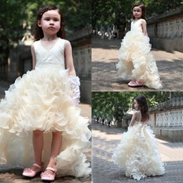 Wholesale Dress White Bowknot - 2017 Cute Girls Princess Ball Gown High Low Flower Girl Dresses Organza Puffy Skirts Bowknot Sleeveless Little Girls Formal Wears Dresses