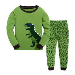 Wholesale Boys Clothing Sets Dinosaur - Children Cotton Dinosaur Pajamas Boys Girl Long Sleeve Round Neck Two Pieces Sets Sleepwear Children Kids Clothing