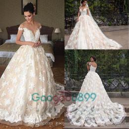 Wholesale Sheer Ribbon Flower - 2017 Lace Applique Princess country Wedding Dresses berta Champagne Dubai Arabic Off-shoulder A-line overskirt Wedding Gown Milla Nova