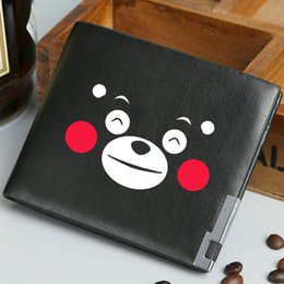 Wholesale Dress Bears Bags - Kumamon wallet Nice bear purse Smile face short cash note case Money notecase Leather burse bag Card holders