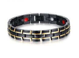 Wholesale Mens Stainless Steel Black Bracelets - Stainless Steel Mens Magnetic Bracelet with Magnets Germanium Gold Black Strong Magnets Function Element Father's Day Gift B871S