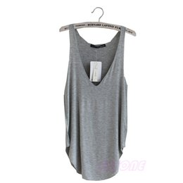 Wholesale Womens Vest Wholesale - Wholesale-Fashion Sexy Soft Womens V-Neck Vest Summer Loose Sleeveless Tank T-Shirt Tops-Y107