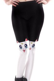 Wholesale Nice Milk - Cat face skinny pants Nice tail leggings tight Cartoon fitness wear Black milk Outdoor sportwear Sport gym clothing
