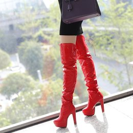 Wholesale Thigh High White Lace Boots - Fashion Women Sexy High Thick Heels Platform Round Toe Riding Boots Women Shoes Woman 33-43 Over The Knee Boots 2017