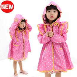 Wholesale Trench Coat For Women Pink - yellow pink nylon polka dots child princess raincoat rainwear for children kids girls baby rain coat poncho waterproof trench