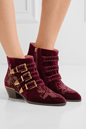 Wholesale Low Heeled Ankle Booties - Fashion Celebrity Susanna Ankle Boots Women Buckles Rivets Studded Shoes Woman Vintage Low Heel Velvet Riding Booties Zip