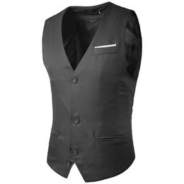 Wholesale Chinese Collar Formal Dress - Formal Men Dress Suit 3button Single Breasted Gilet Vest Slim Business Tops homme Sleeveless Jacket Waistcoat Men M14