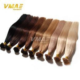 Wholesale Extensions Bonds - fusion Pre Bonded u tip human hair extension colorful nail hair Brazilian human hair longqi natural keratin 1g strand