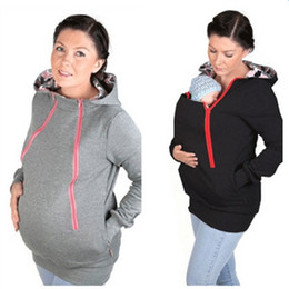 Wholesale Pregnancy Maternity - Wholesale- 2016 Fashion Maternity Pregnancy Women Jackets Multifunctional Baby Wearing Jackckets Solid Kangaroo Coats