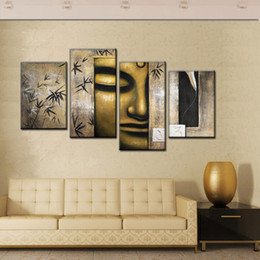 Wholesale Cheap Framed Canvas Art - Handmade cheap Large Modern Abstract bronze Buddha Painting Canvas Oil Wall Art buda Portrait Home Decoration 4 Pcs Set Picture no frame
