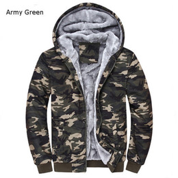 Wholesale Camo Fleece Mens - Wholesale- Winter Warm Mens Camouflage Coat Casual Hoodies Thickened Fleece Zipper Tactical Camo Jacket Army Green ;Chaqueta Militar Hombre