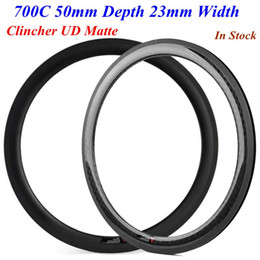 Wholesale 26 rear bicycle wheel - 700C 50mm Depth 23mm Width Full Carbon Road Bike Rims Clincher UD Matte Carbon Bicycle Wheels Rim 445g-475g Per Piece