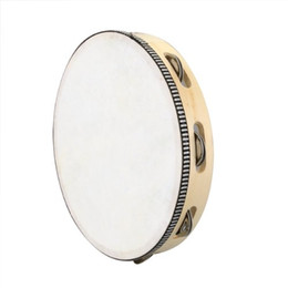 """Wholesale Percussion Tambourine Drum - Wholesale-Super sell 10"""" Musical Tambourine Drum Round Percussion Gift for KTV Party"""