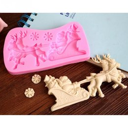 Wholesale Lace Chocolate Mold - Christmas Santa Claus milu deer Shape Chocolate Candy Jello 3D silicone fondant lace Mold Mould cake decoration pastry tools