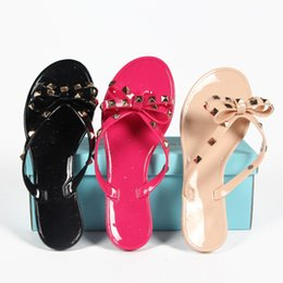 Wholesale Checkered Heels - New Europe and US summer cool slippers new fashion bow sandals beach sandals decorated with rivets Free Shipping