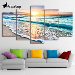 Wholesale Printing Ny - HD Printed 5 piece canvas art beach pictures seascape sunset beach painting canvas painting wall picturesFree shipping ny-1476