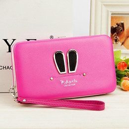 Wholesale Lunch Rabbit - Lunch Box Purse Wallet Female Famous Brand Card Holders Cellphone Pocket Gifts Women Money Bag Clutch Bag Rabbit Ears Version