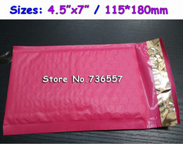 Wholesale Pink Mailers - Wholesale- Pink 4.5X7inch   115X180MM Usable space Poly bubble Mailer envelopes padded Mailing Bag Self Sealing [100pcs]