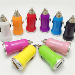 Wholesale Mini Dock Usb Wireless - Mini Bullet USB Port Car Charger Phone Charger Universal DC 12-24V 2.1A OEM for Apple iPhone iPad MPS Samsung Galaxy Car Chargers
