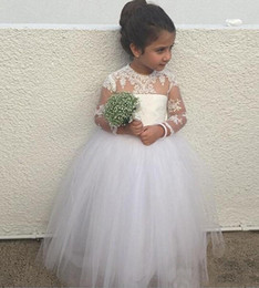 Wholesale Junior High Pageant Dresses - Puffy Girls Pageant Dresses for Toddlers Long Junior Bridesmaid Sheer Neck Lace Appliques Flower Girl Dresses with Long Sleeves