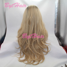 Wholesale Root Hair Color - Bythair Bouncy Wavy Ombre Blonde Two Tone Synthetic Lace Front Wig Dark Root  Natural Blonde Heat Resistant Fiber Women Hair Wigs