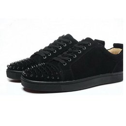 Wholesale Spike Casual Shoes - New Hot Sales Red Bottom Men's Casual Sneakers,Luxury Brand Black Matter Leather Spiked Toe Skateboarding Shoes,Designer Sports Shoes Women