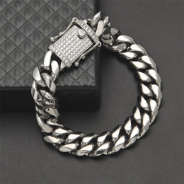 Wholesale Movies Spring - 14mm Mens Cuban Miami Link Bracelet Rhinestone Clasp Iced Out Gold Silver Stainless Steel Chain Bracelet 22CM