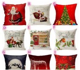 Wholesale Cotton Christmas Decorations - On Sale Christmas Tree comfortable Sofa Festival Pillow Case Cushion Cover