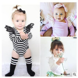 Wholesale White Baby Bodysuits Wholesale - Ins Bodysuit Baby Lace Stripe 2017 White Body Baby Girl Bodysuits Long Sleeve Jumpsuit Overalls For Children Infant Clothing