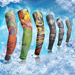 Wholesale Tattoo Arm Covers - Tattoo Oversleeve Arm Sleeve Cycling Bike Bicycle Outdoor Arm Warmers Cover Oversleeve Sleevelet Prevent Bask Fast Shipping