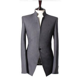Wholesale Handmade Vests - Wholesale- Mandarin collar Gentlemen men suits jacket Handmade Wedding groom tuxedos vest Men Custom Made Men Suit Jacket