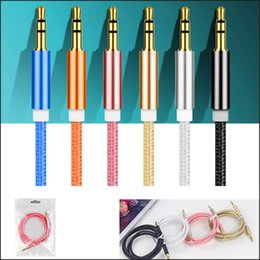 Wholesale Mp3 Luxury - Luxury 3.5mm 1M AUX Audio Cable Male To Male Stereo Car Extension Audio Cable For MP3 ipad Car Phone nylon