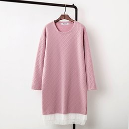 Wholesale Sweaters Lace Bottom - Wholesale- Lace Bottom Knitting Sweaters Women 2017 Spring New Style O-neck Long Pullovers Plus Size 3XL 4XL Sweater Pink KK1774