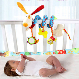 Wholesale Cat Baby Rattle - Wholesale- Newborn Baby Stroller Toys Lovely Dog & Cat Model Baby Bed Hanging Toys Educational Baby Rattle Toys