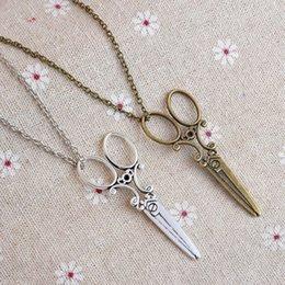 Wholesale Bronze Scissors - 2017 Vintage Antique silver bronze Scissors Necklace 20pcs lot Scissor Hot Pendant Necklaces