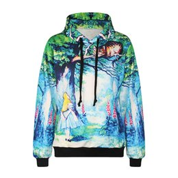 Wholesale Black Cat Paintings - Fashion 3d print cute oil painting big cat on the tree branch boys girls cool lace causal sweatshirt high quality smooth material clothes