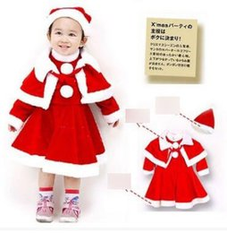 Wholesale Baby Dress Hat Set - Christmas Toddler kids outfits Baby girls cotton Bows lace-up lapel shawl+pompons red dress+Christmas hats 3pcs sets Infants clothes C1980