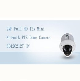 Wholesale Mini Ptz Dome Cctv Camera - DAHUA CCTV Security IP Camera 2MP Full HD 12x Mini Network PTZ Dome Camera with POE without Logo SD42C212T-HN