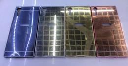 Wholesale Gold Compact Mirror - Mirror Case+Aluminum Bumper Frame Hybrid Bling For Sony Xperia XA,XZS,XZ,X Compact,Performance Hard PC Alloy Metallic Chromed Metal Skin