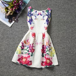 Wholesale Wholesale Print Dresses - new coming fashion style floral girl dresses cute baby summer dresses high quality 20 colors best price