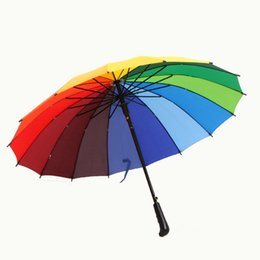 Wholesale Rainbow Straight Umbrella - Top Quality 16 Colors Steel rainbow Princess Umbrellas Fahsion Straight women men umbrella rain novelty windproof