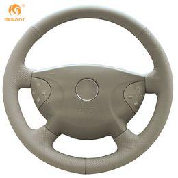 Wholesale Steering Wheel Cover Leather Beige - Mewant Beige Genuine Leather Car Steering Wheel Cover for Mercedes-Benz Old E240 E63 E320 E280 2002-2005